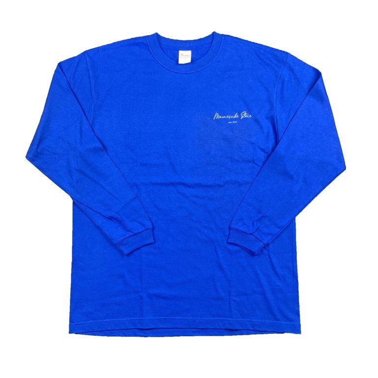 mamesuke_store_script_logo_long_tshirt_blue
